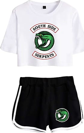 EmilyLe Womens Riverdale Clothing Set Southside Serpents T-Shirt Two Piece Set (XS, White Black)