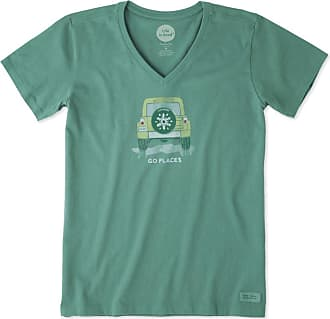 Life is good Womens Go Places Snowflake Crusher Vee XXL Forest Green