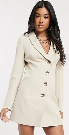 4th & Reckless asymmetrical blazer dress in natural-Pink