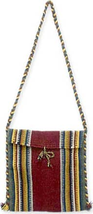 Novica Wool shoulder bag, Zapotec Fiesta - Handmade Womens Wool Striped Shoulder Bag