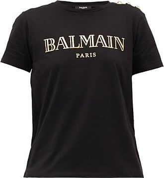 Balmain Buttoned-shoulder Logo-print Cotton T-shirt - Womens - Black Gold