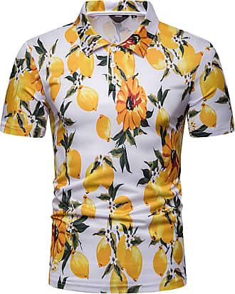 Whatlees Mens Casual Short Sleeve Hawaiian Print Lemon Graphic Golf Polo Shirt Stylish Top Tees 02010038X09+XL