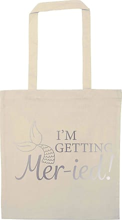 Flox Creative Natural Tote Bag Im Getting Mer-ied! Metallic Silver Mermaid Pun