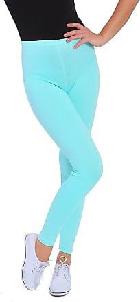 FUTURO FASHION Womens Full Length Cotton Leggings Solid Soft Pants, Plus Sizes Mint
