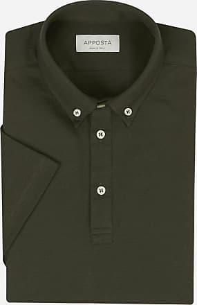 Apposta Polo camicia button down a manica corta in cotone piqué verde