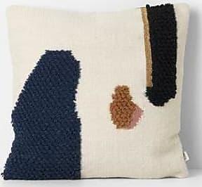 Ferm Living Loop Cushion Mount In Cream Navy - White