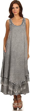 Sakkas 15222 - Emma Relaxed Fit Scoop Neck Double Layered with Fringe Tank Dress - Grey - S/M