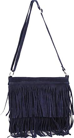 Your Dezire Ladies Suede Leather Tassel Cross Body Messenger Bag Women Shoulder Over Bags Handbags (Navy)