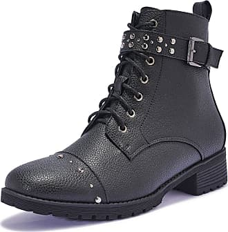 Truffle Womens Black Faux Leather Low Heel Studded Ankle Boots - Black - UK 4