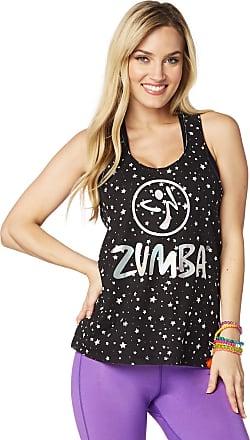 Zumba Black Graphic Print Fitness Dance Workout Racerback Tank Tops For Women, Bold Black 8, L