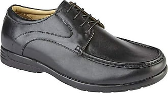Roamers Roamer Mens Leather Extra Wide Fit Casual Lace up Shoes - Black, Mens UK 9 / EU 43