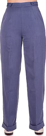 Banned Flared Vintage Retro 40s 50s High Waist Trousers (UK 8 (XS), Blue)