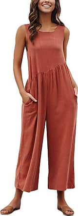 TOMWELL Womens Round Neck Drawstring Backless Solid Color Jumpsuits Rompers Wide Leg Boho Playsuit Red UK 16