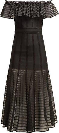 Alexander McQueen Alexander Mcqueen - Off-the-shoulder Stripe Knitted Midi Dress - Womens - Black