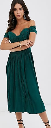 Asos Tall ASOS DESIGN Tall - Midikleid mit Carmen-Ausschnitt, Spitze und Plisseefalten-Grün