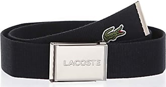 Lacoste Mens Textile Signature Croc Logo Belt, Navy Blue, 39 IN