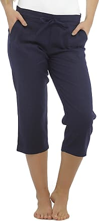 Tom Franks Ladies Linen Blend Cropped 3/4 Length Trousers Navy Blue 18