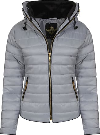 Parsa Fashions Malaika Ladies Quilted Padded Puffer Bubble Fur Collar Warm Thick Womens Jacket Coat - Available in Plus Sizes (Small to XXL) (XXL, Silver Grey)