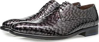 Floris Van Bommel Grauer Premium Lackleder-Schnürschuh mit Print, Business Schuhe, Designer Schuh, Handgefertigt