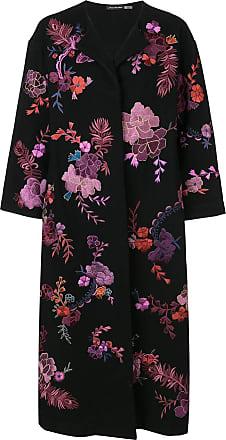 Natori floral embroidered felted coat - Black