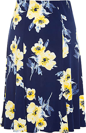 Yours Clothing Clothing Womens Plus Size Floral Midi Skirt Size 22 Navy
