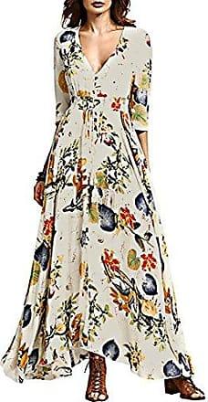 b42e891cdb0f5 iShine iShine Sommerkleider Damen Lang V-Ausschnitt Kleid Boho Maxikleid  Strandkleid-WT-M