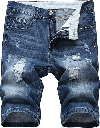 Yonglan Mens Slim Fit Shorts Jeans Shorts Knee Length Hole Ripped Denim Jeans Half Pants Blue 34