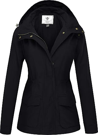 WenVen Womens Hooded Casual Military Zipper Jackets Black Medium