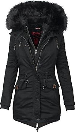 60c2c170ab5234 Marikoo Damen Designer Winter Jacke warme Winterjacke Parka Mantel B390  [B390-Rose-Schwarz