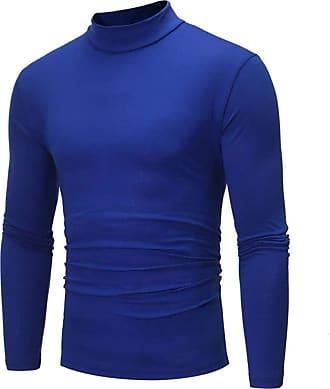FNKDOR Mens Turtleneck T-Shirt Pure Color Long Sleeve T-Shirt Top Blouse for Autumn Winter Blue