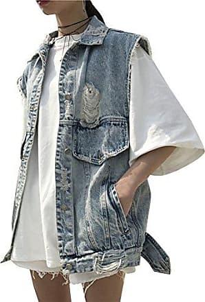 Guiran Damenweste Denim Jeansjacke Weste Lang Jeansweste Outwear /Ärmellos Denim Jacke
