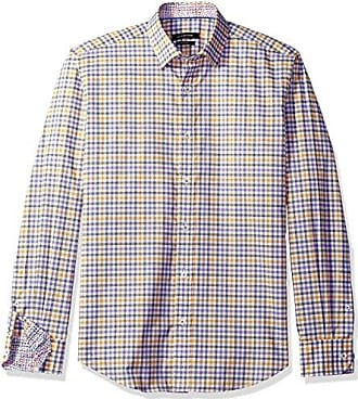 Bugatchi Mens Dudley Long Sleeve Plaid Check Button Down Shirt, Orchid XX-Large