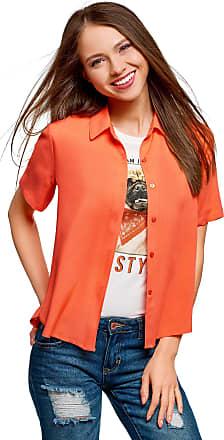 oodji Womens Short Sleeve Viscose Blouse, Orange, UK 14 / EU 44 / XL