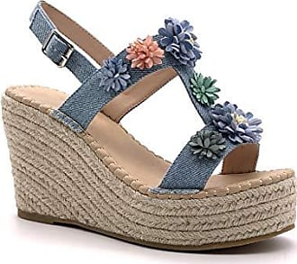 e3e3bb10fe1d0c Angkorly Damen Schuhe Sandalen Espadrilles - romantisch - Vintage Retro -  Plateauschuhe - Blumen -