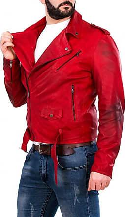 Leather Trend Italy Chiodo Uomo - Giacca in Vera Pelle colore Rosso Invecchiato