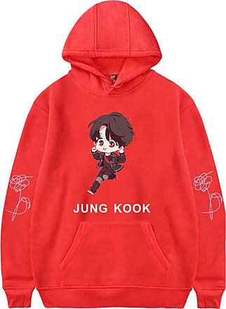 EUDOLAH Womens BTS Bangtan Boys Hoodies Pullover Sweatshirts Unisex Jumper JIN SUGA J-Hope RM Jimin V JUNG KOOK (UK 10-12 (Tag M), Red JUNG KOOK)