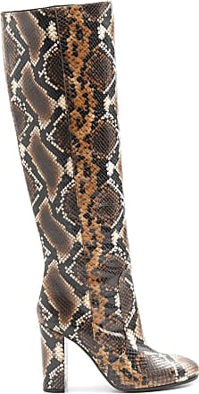 Via Roma 15 Snake Effect Leather Heel Boots - 2620 Anaconda - Size Brown Size: 5 UK