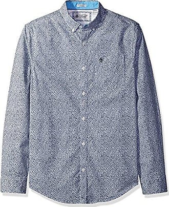 67272b40 Original Penguin Mens Long Sleeve Mini Floral with Stretch, Dark Sapphire,  Small