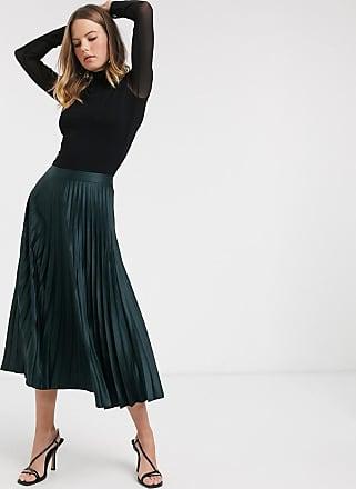 Warehouse satin pleated midi skirt in green