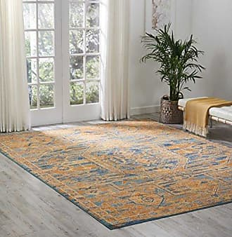 Nourison (PSN07) Passion Modern Traditional Colorful Teal/Sun Orange Area Rug, 8 x 10