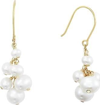 Misaki Boucles doreilles Grelots dorées avec perles de culture blanches