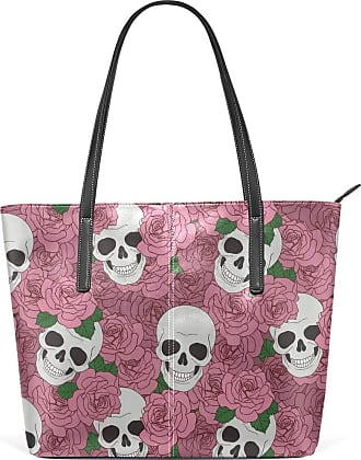 NaiiaN for Women Girls Ladies Student Leather Funny Happy Skulls Flower Rose Tote Bag City Purse Shopping Handbags Light Weight Strap Shoulder Bags