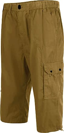 Espionage Mens Pure Cotton Three Quarter Capri Pants (047) in Olive in 2XL