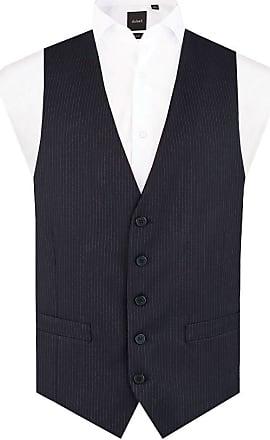 Dobell Mens Navy Pinstripe Waistcoat Regular Fit 5 Button-L (42-44in)