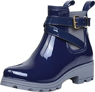 Yvelands Ankle Rain Boots Women Ladies Fashion Glossy Waterproof Wellington Wellies Boots with Buckle Strap Mid Low Block Heel Chelsea Water Boots Blue