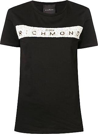 John Richmond Camiseta com logo de paetês - Preto