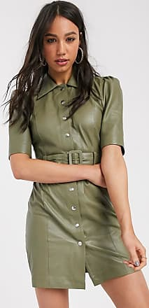 Object leather shirt dress in sage-Green