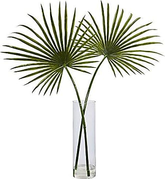 Nearly Natural Fan Palm Artificial Arrangement in Glass Vase, Green