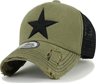 Ililily Star Embroidery tri-Tone Trucker Hat Adjustable Cotton Baseball Cap (Medium, Olive)