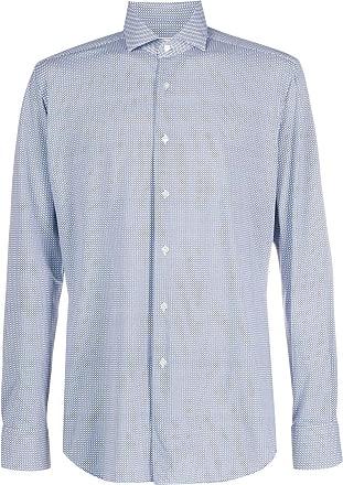 Xacus cutaway collar printed shirt - Blue